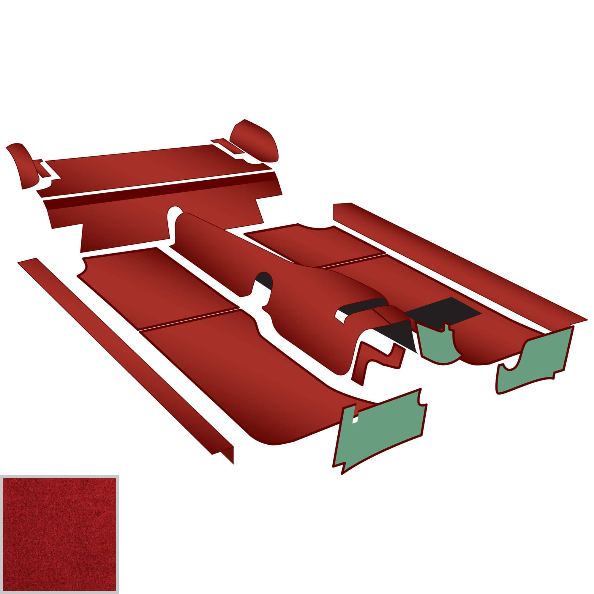 Molded Tunnel Carpet Kit, Red, 1962-67 RD