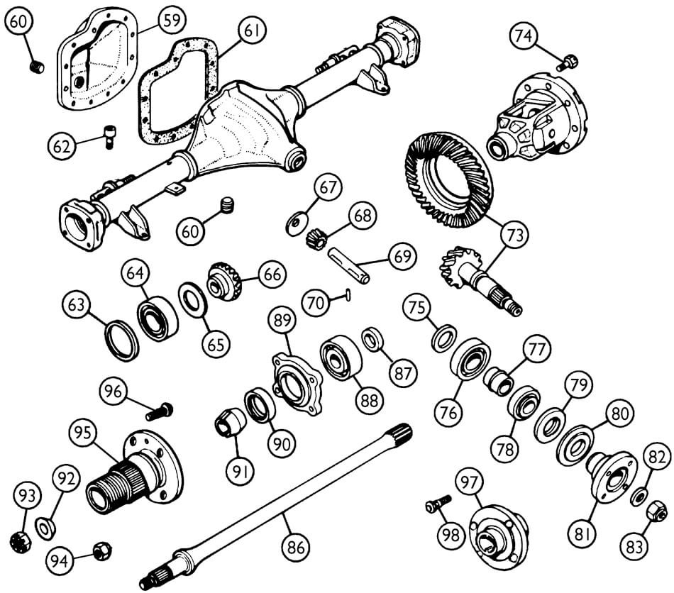 tubed type rear axle - differential  u0026 axles
