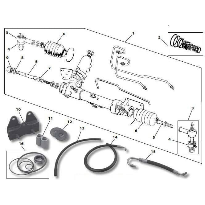 Power Steering Seals Power Steering Rack and Pinion Seal Kit for ...