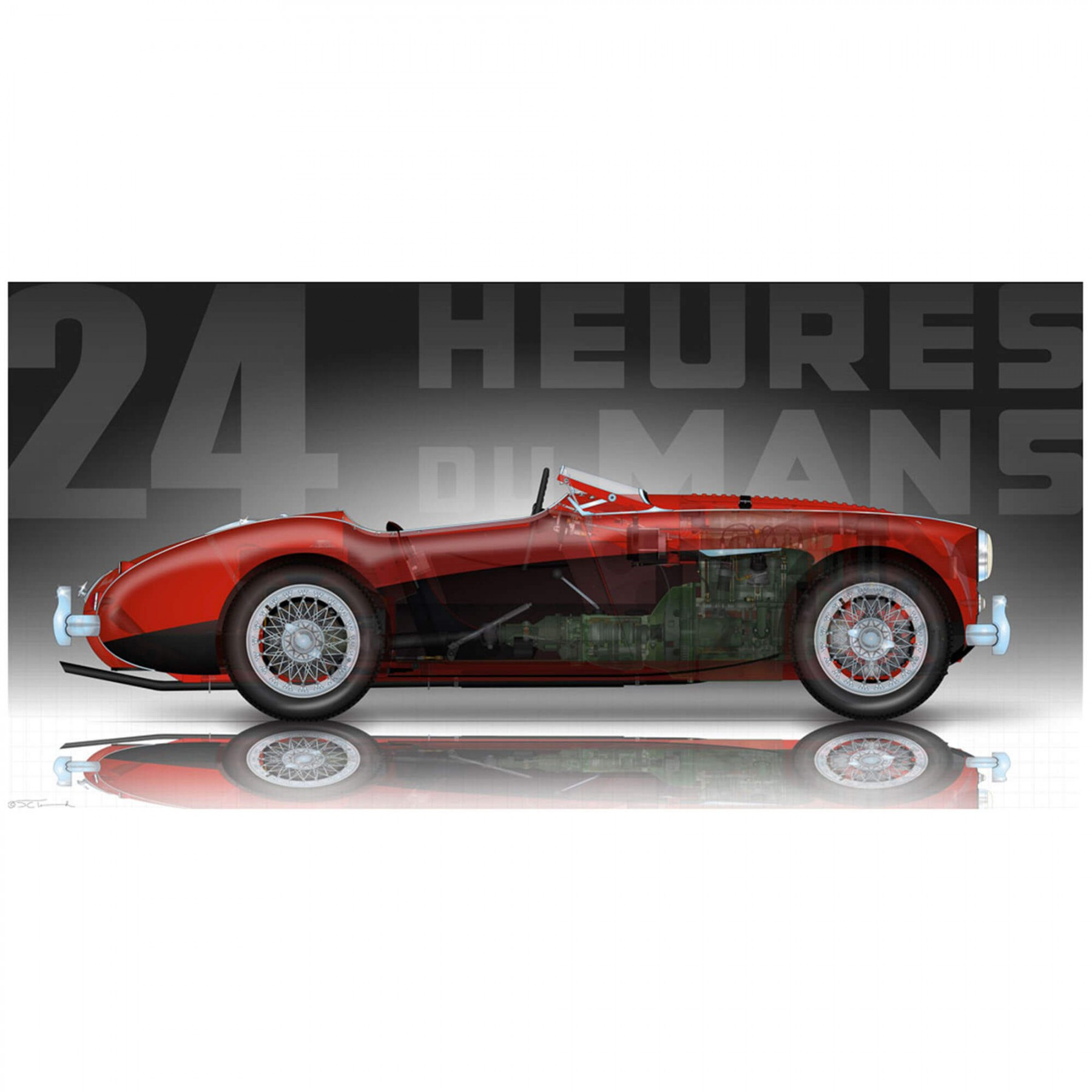214-605 Red/Black Austin Healey 100M Puzzle By David