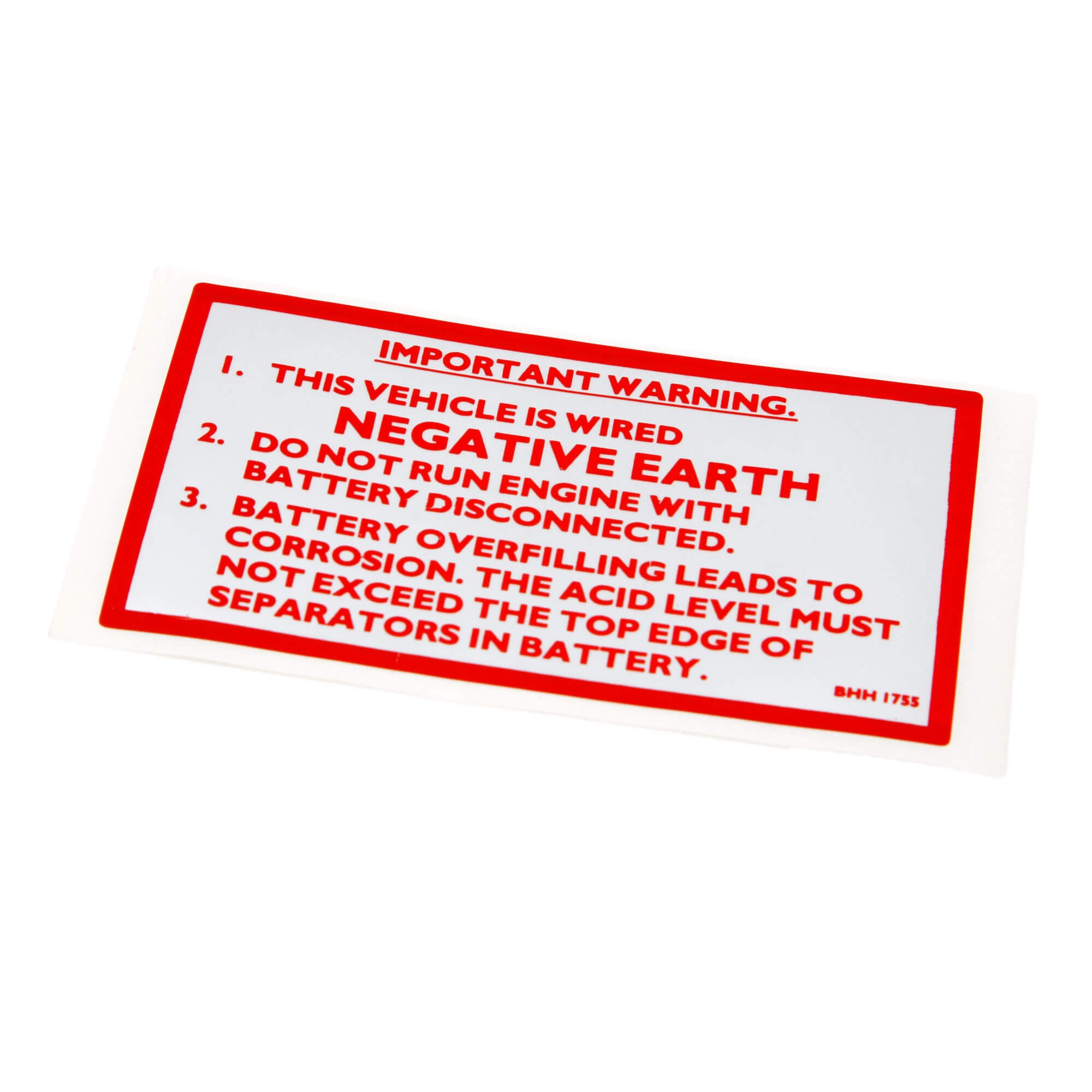 STICKER DECAL CLASSIC CAR warning wired negative earth LABEL