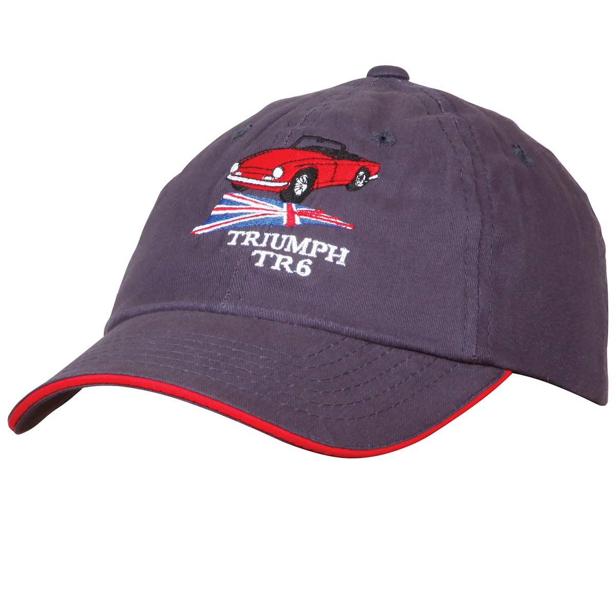 219 946 Triumph Tr6 Hat Navy With Red Sandwich Moss Motors