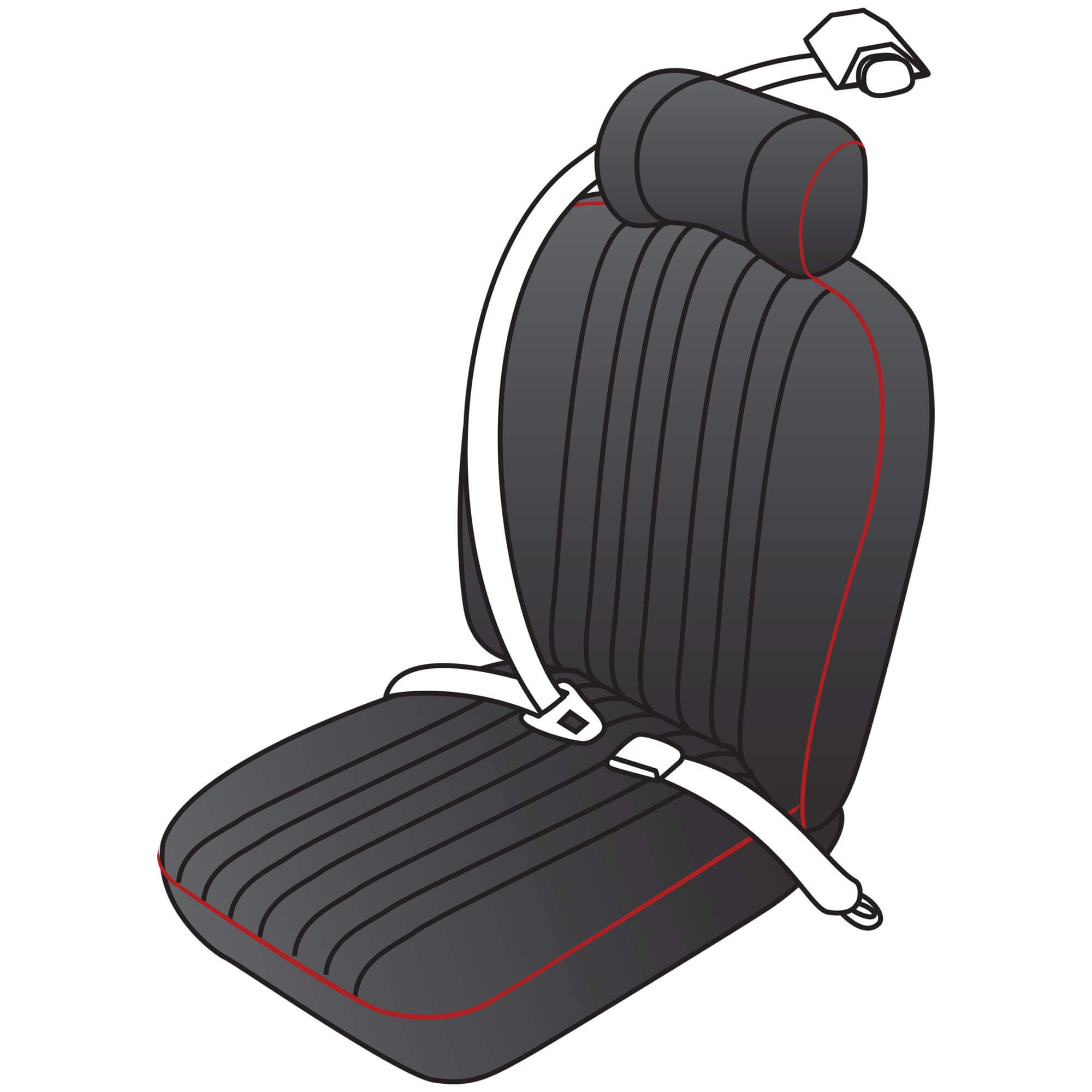 222 030 Vintage Style Retractable Seat Belt Kit Moss Motors